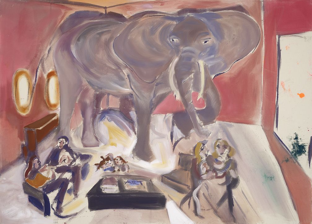 Sophie von Hellermann, Elephant in the Room, 2013, Pigment and acrylic emulsion on canvas, 90 1/2 x 126 inches