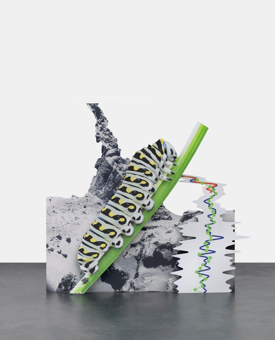 Katja Novitskova 67P Potential (Caterpillar), 2015 Digital print on three layers of aluminum, cutout display  60 1/4 x 61 x 18 7/8 inches (153 x 154.9 x 47.9 cm)