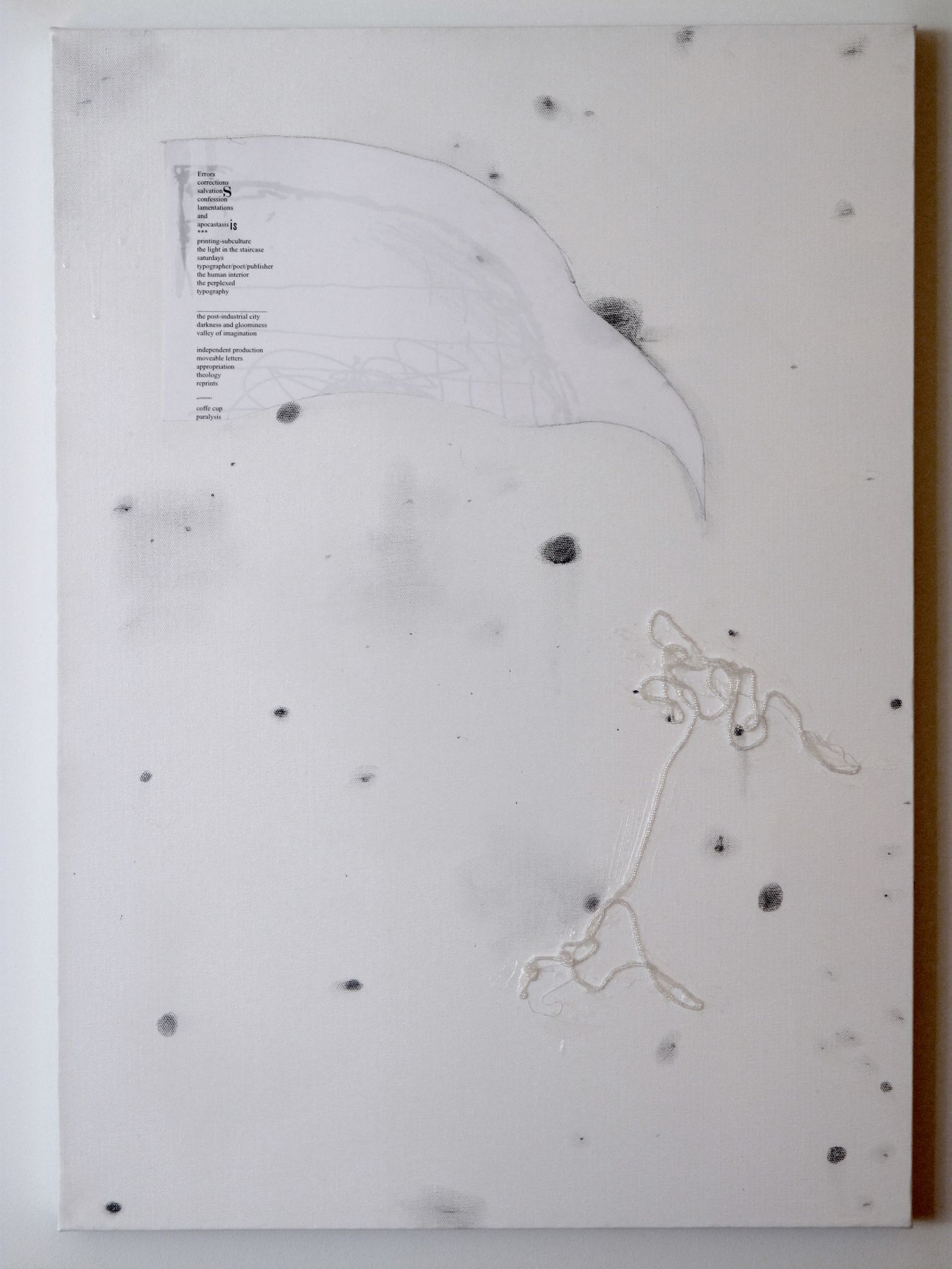 The Assistant (6), 2008, inkjet print, pencil, beads, and adhesive on canvas, 27 ½ x 19 ½ inches