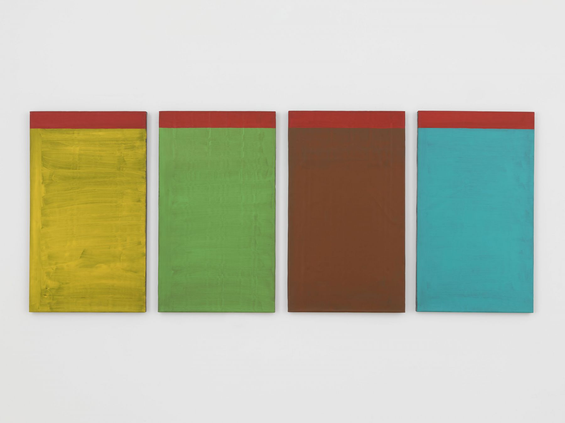 Günther Förg  Untitled, 1986 Acrylic on lead on wood  35 3/8 x 20 3/8 inches (90 x 52 cm) each in 4 parts