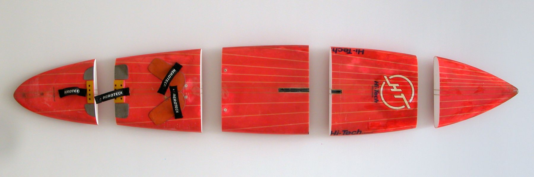 Michael Krebber, Hi Tech, 2008, Windsurfing board, wall mounts, 23.5 x 135 inches