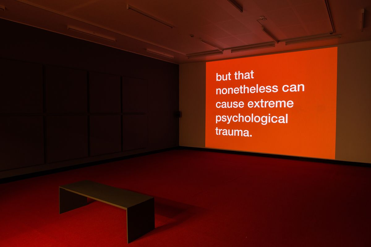 Tony Cokes, Installation view, Evil, Mediation, and Power, Bergen Kunsthall, Bergen, 2018
