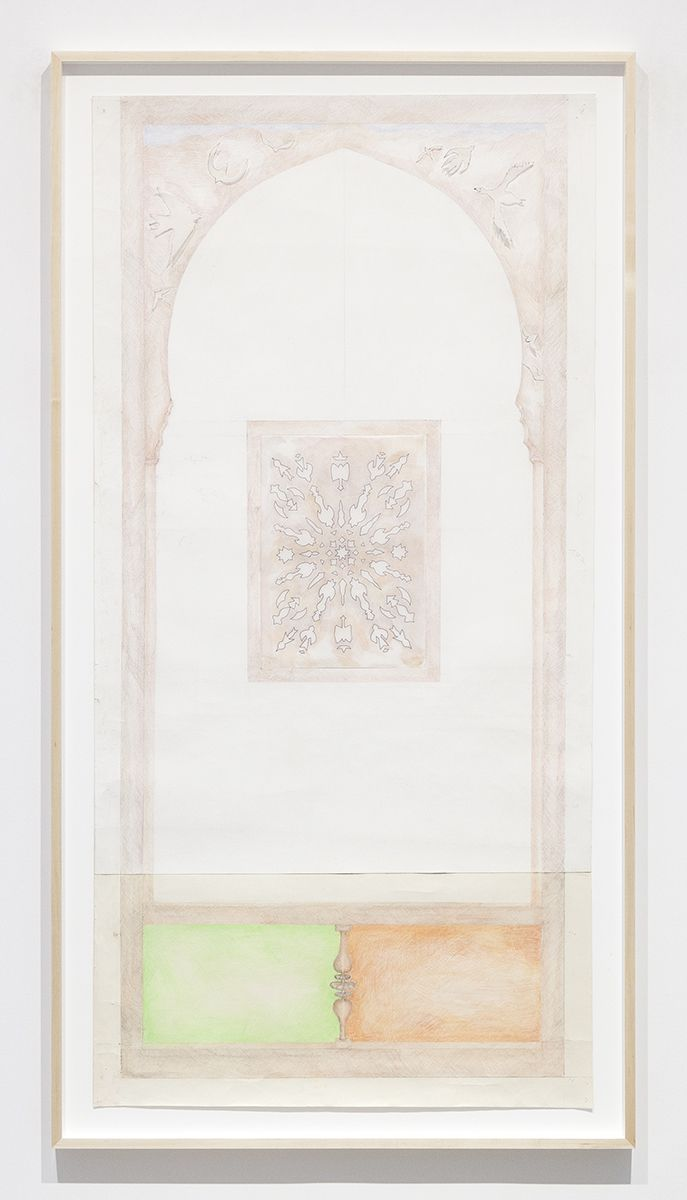 Katharina Wulff Untitled, 2014 Pencil, colored pencil, ink, transparent paper on paper Paper: 72 x 35 5/16 inches (182.9 x 89.7 cm) Frame: 77 1/2 x 41 1/4 x 2 inches (196.9 x 104.8 x 5.1 cm)