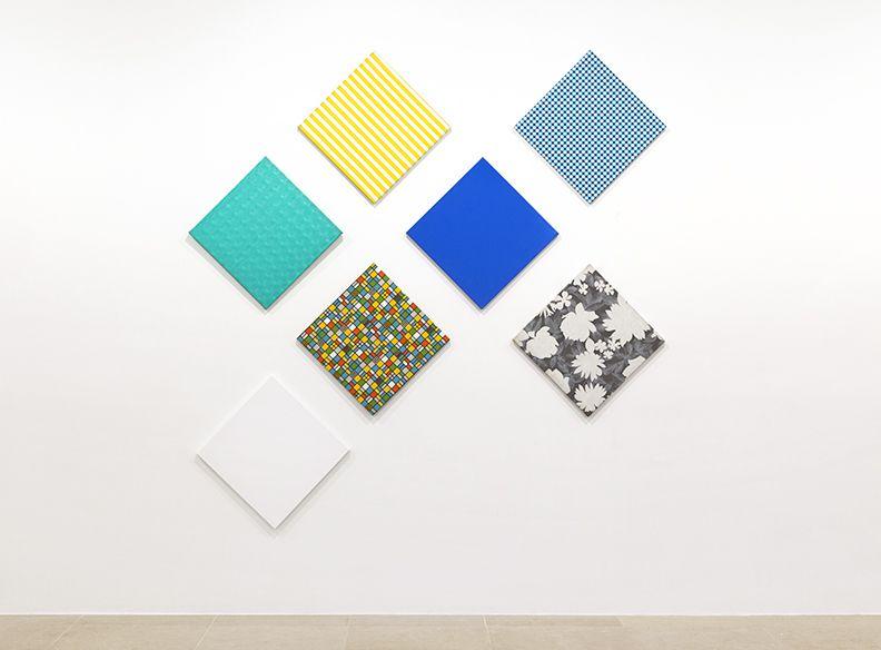 Konrad Lueg, Komposition aus 7 Flächen, 1966, Plastic film on wood (seven pieces), 78 3/4 x 118 1/8 inches, 19 3/4 x 19 5/8 each