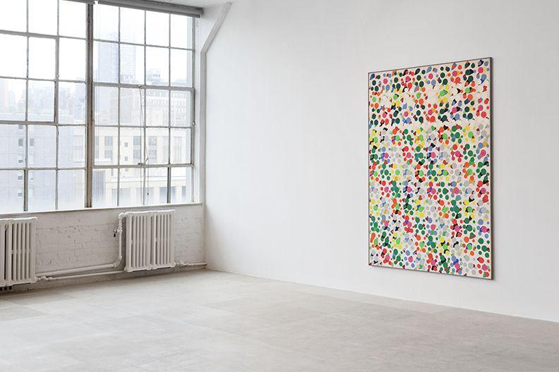 Untitled, 1966, Casein tempera on canvas, 78 3/4 x 59 inches, Installation view, Greene Naftali, New York, 2013