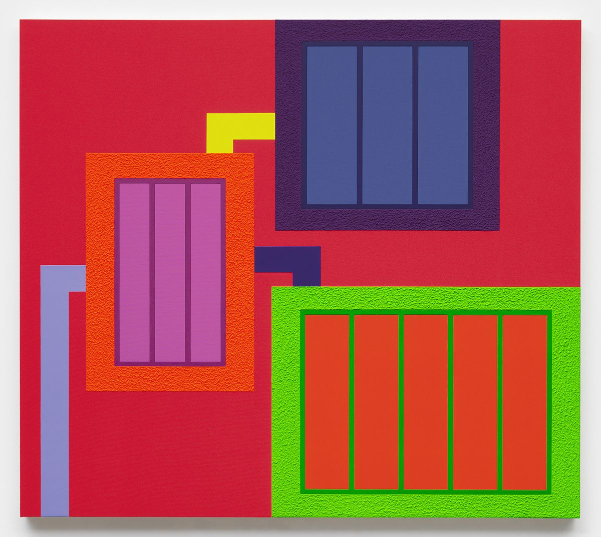 Peter Halley, Dismissed, 2017 Acrylic, fluorescent acrylic, and Roll-A-Tex on canvas 71 x 80 inches (180.3 x 203.2 cm)