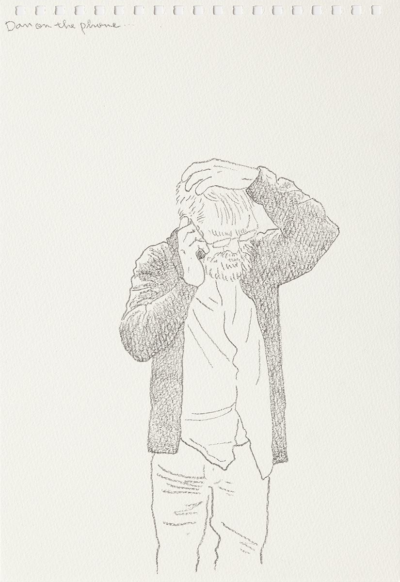 Mieko Meguro Dan On The Phone..., 2016 Graphite on paper Image: 9 7/8 x 6 3/8 inches (25.1 x 16.5 cm)  Frame: 12 1/2 x 9 1/2 x 1 1/8 inches (31.7 x 24.1 x 3.0 cm)