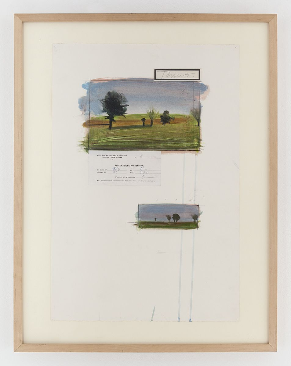 Candy Jernigan, Italian Landscape Series, Torino, 1989, Acrylic and collage on paper, Image: 22 x 15 inches (55.9 x 38.1 cm), Frame: 26 7/8 x 20 7/8 x 1 1/2 inches  (68.3 x 53 x 3.8 cm)