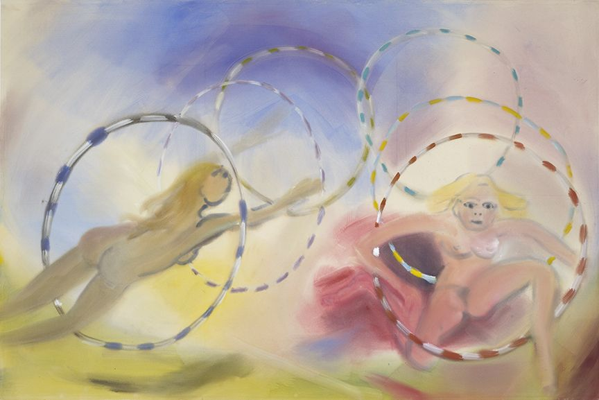 Sophie von Hellermann, Jumping Through Hoops, 2013, Pigment and acrylic emulsion on canvas, 79 1/4 x 118 3/8 inches