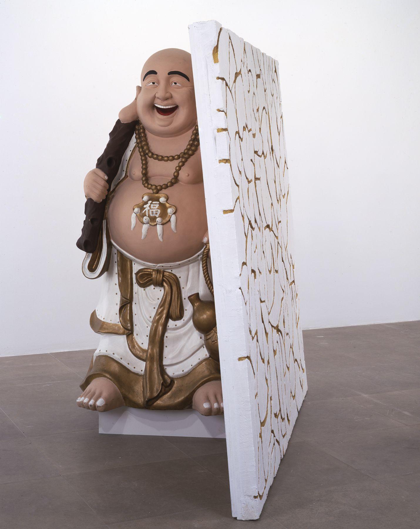 Rachel Harrison Buddha with Wall, 2004 Wood, polystyrene, cement, acrylic, and fiberglass Buddha 80 x 82 x 40 inches (203.2 x 208.3 x 101.6 cm)