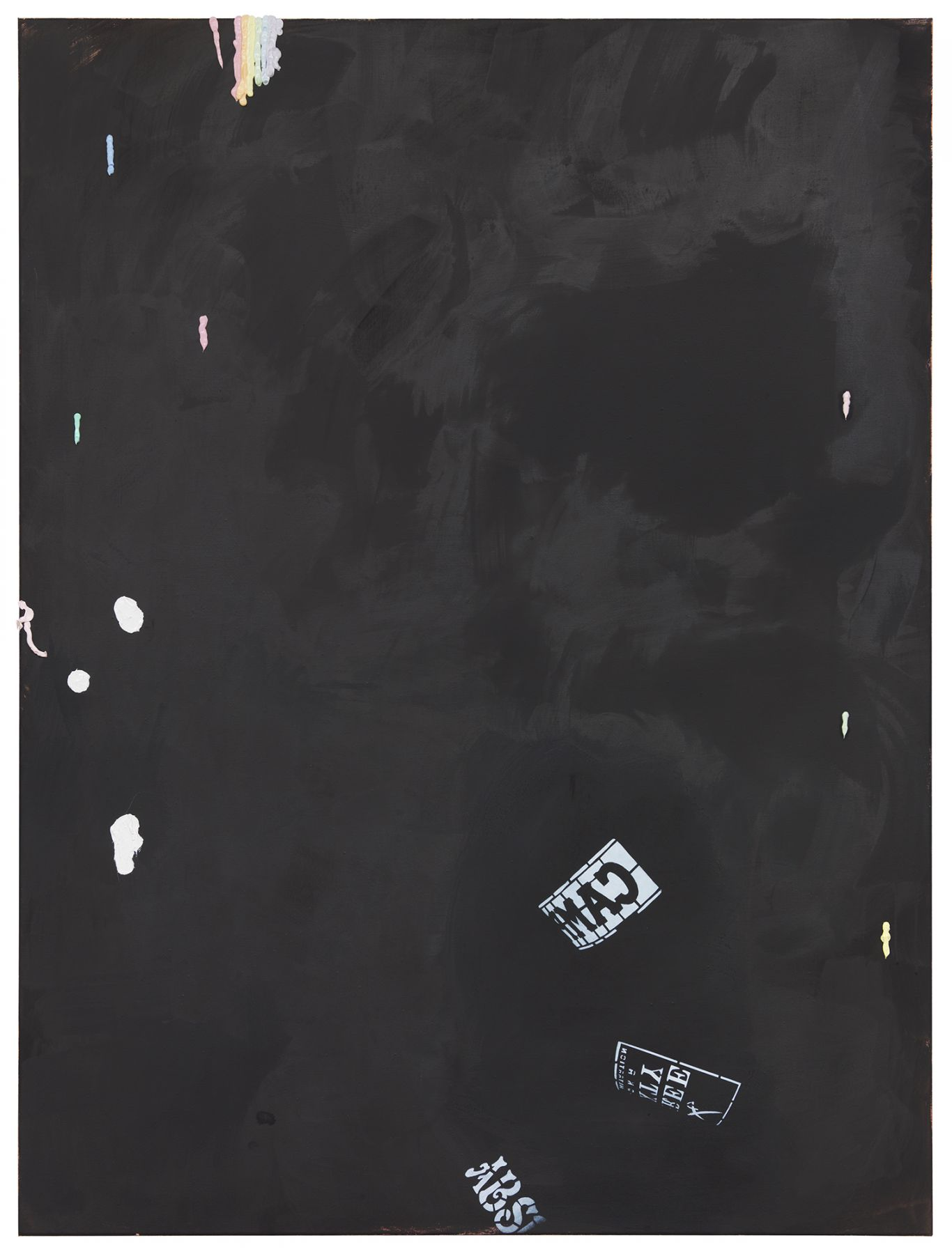 Monika Baer on hold (2), 2015 Acrylic, ink, oil on canvas 70 3/4 x 53 1/4 inches (180 x 135 cm)