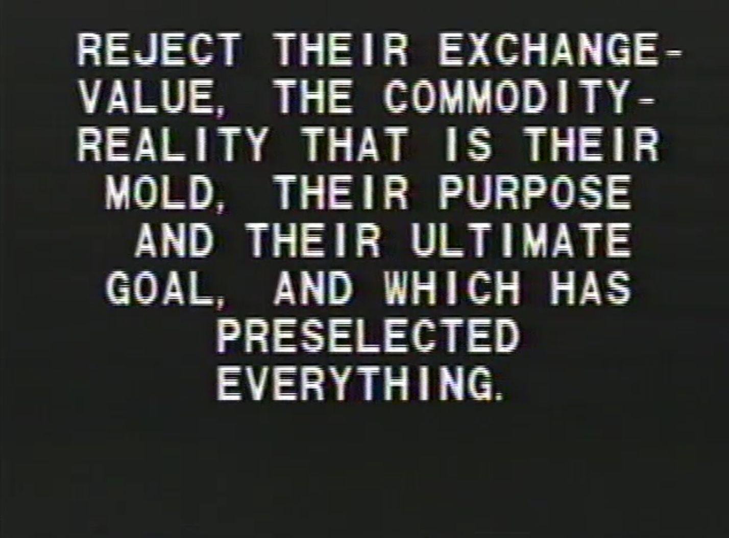 Tony Cokes, Black Celebration, 1988 (still)