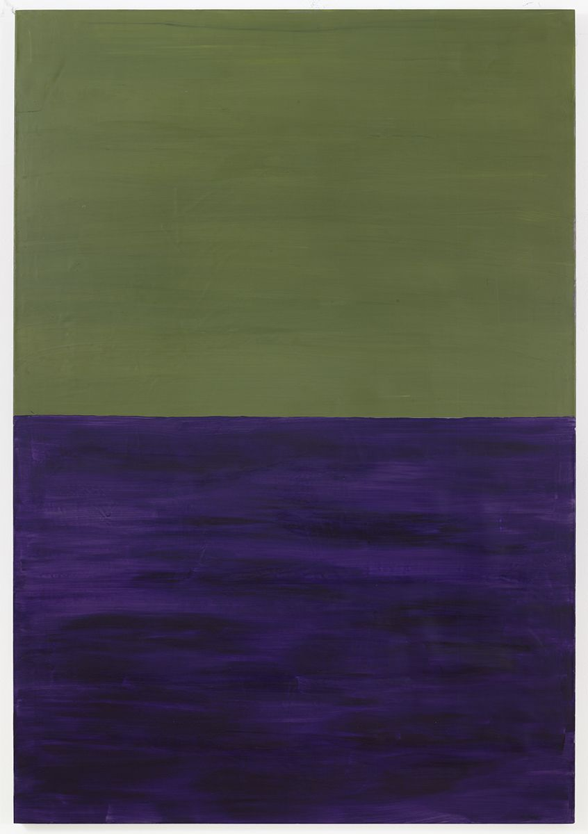 Untitled (green, purple), 1986 Acrylic on lead 63 x 43 3/8 inches