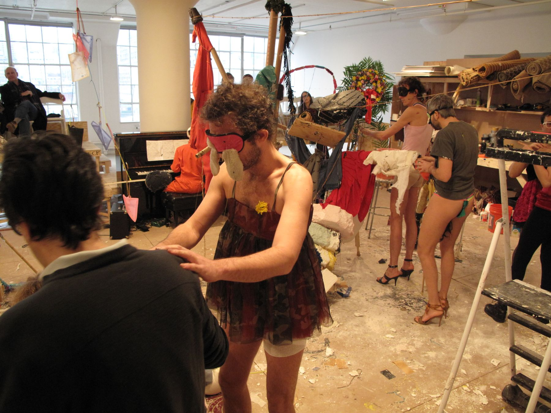 Performance view,Blind Sculpture, Greene Naftali, New York, 2010