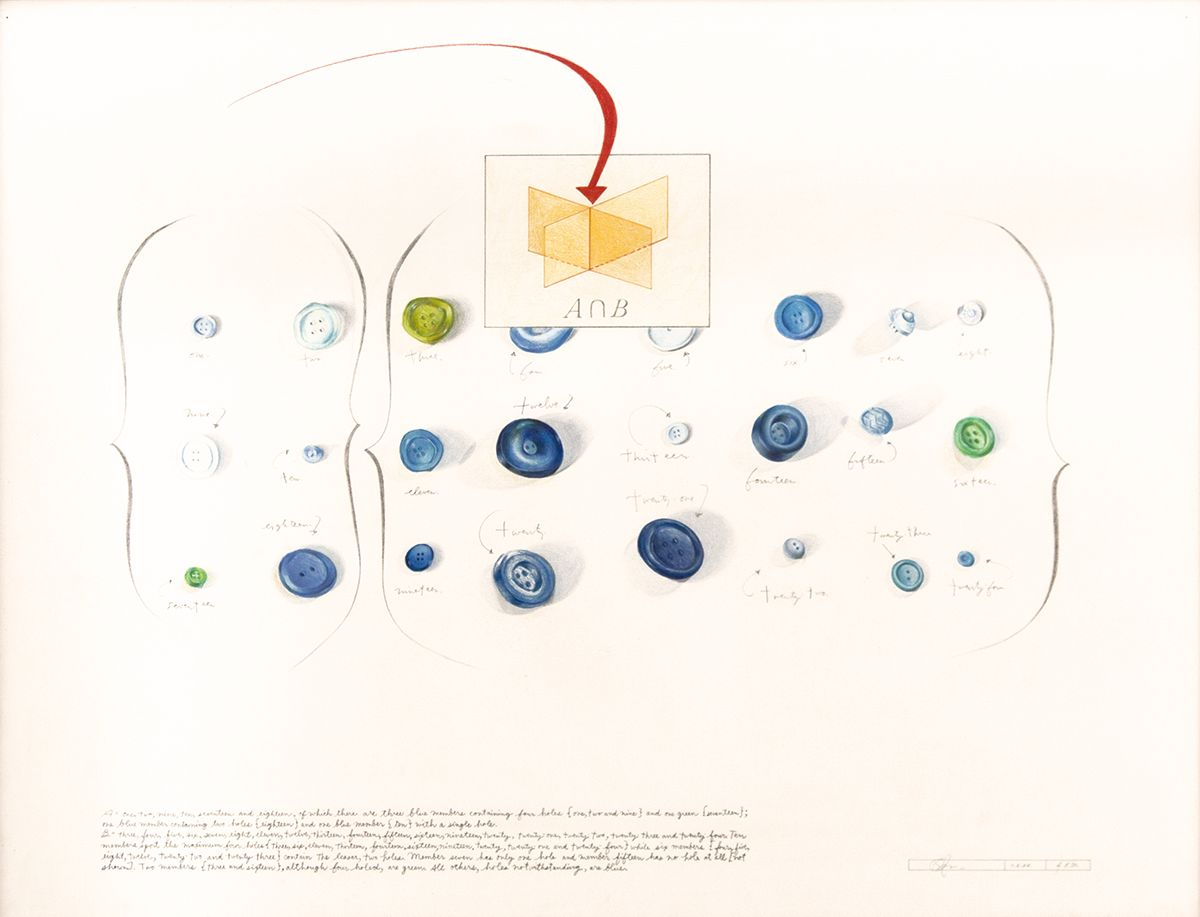 Candy Jernigan, Untitled (Buttons), 1.2.88, Graphite, colored pencil on paper, Paper: 22 x 30 inches (55.9 x 76.2 cm), Framed: 26 1/2 x 33 3/4 x 3/4 inches (67.3 x 85.7 x 1.9 cm)
