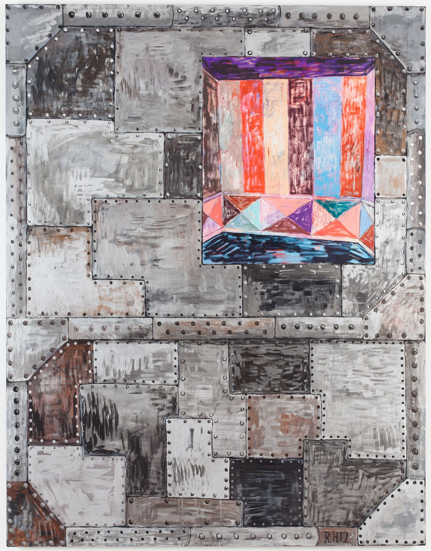 Vault #2, 2012, Oil on canvas and acrylic on panel, 63 x 49 x 1 5/8 inches (160 x 124.5 x 4.1 cm)