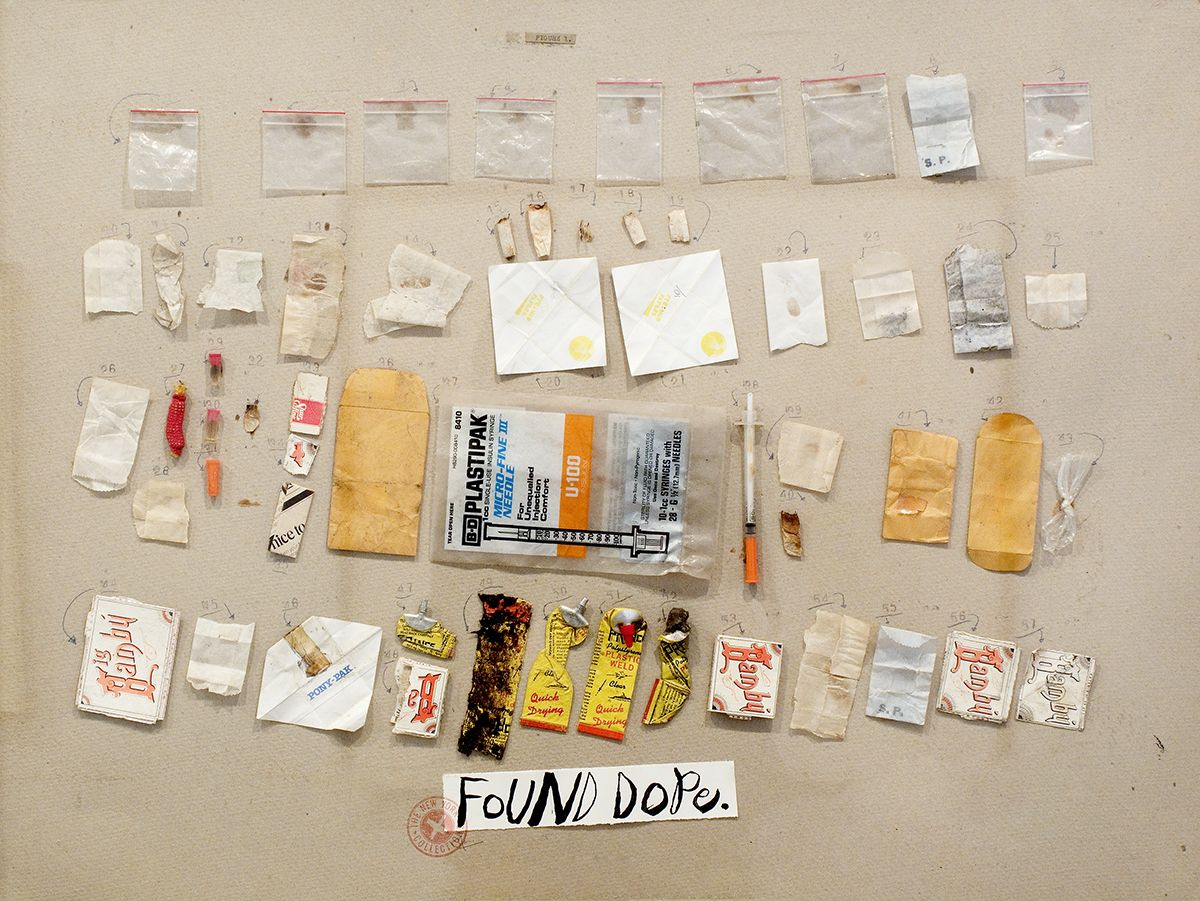 Candy Jernigan, THE NEW YORK COLLECTIONS, Found Dope, 1986, Found objects on paper, 26 x 34 x 2 3/4 inches (66 x 86.4 x 7 cm)