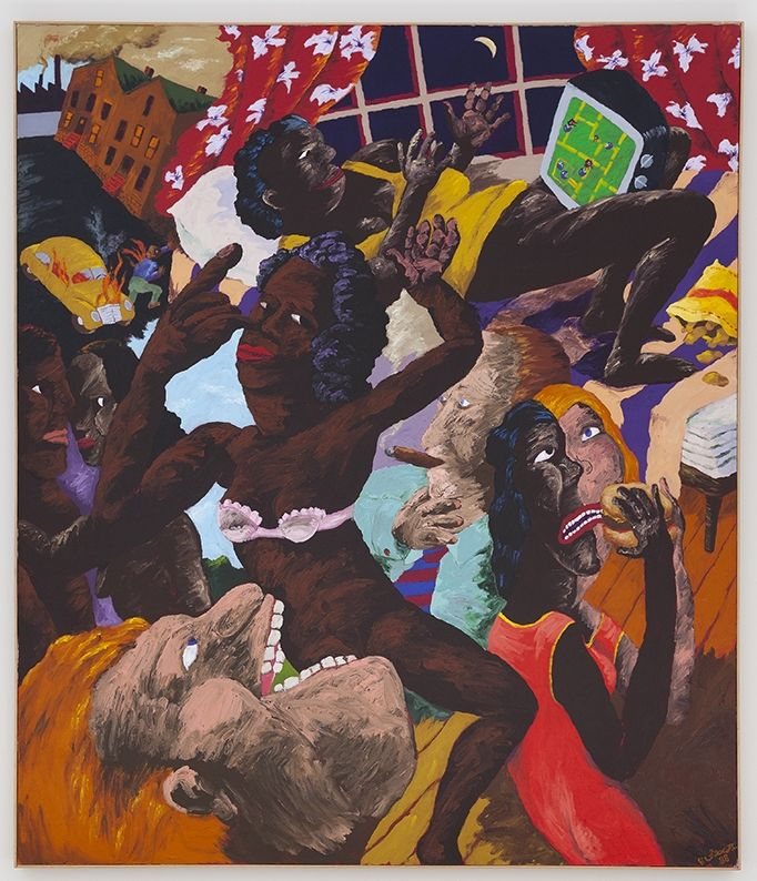 Robert Colescott  Pac-Man (The consumers consumed), 1988  Acrylic on canvas  84 x 72 inches (213.4 x 182.9 cm)