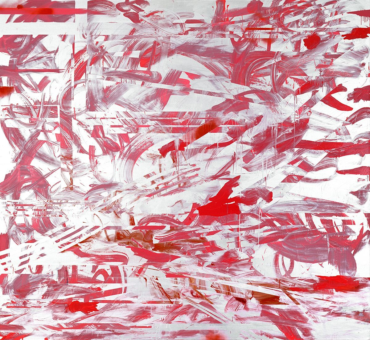 Jacqueline Humphries  Good'n Plenty, 2007  Oil and enamel on linen  80 x 87 inches (203.2 x 221 cm)