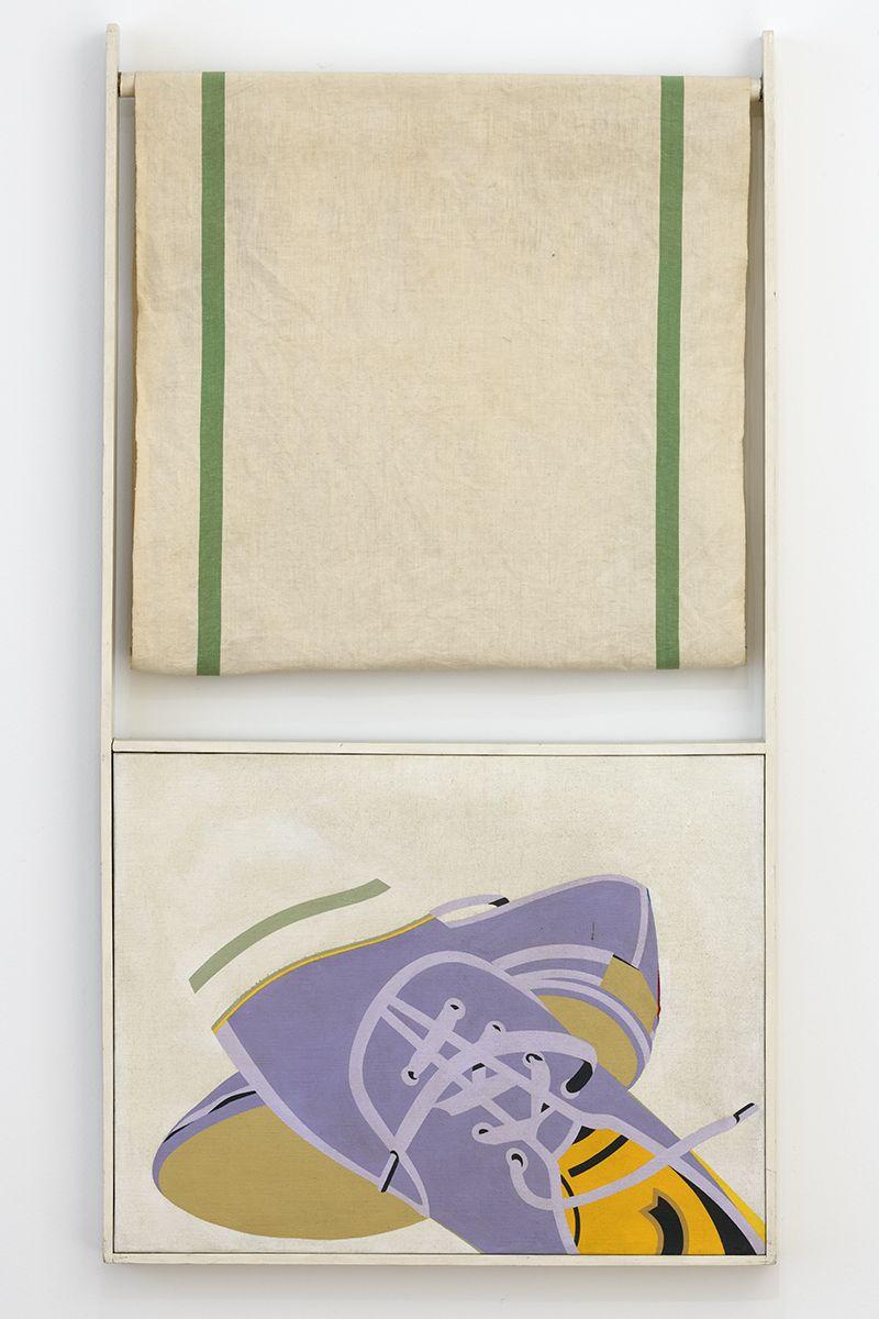Hervé Télémaque  Déjà-vu, 1967  Oil on canvas with a towel  45.28 x 24.8 x .79 inches (115 x 63 x 2 cm)