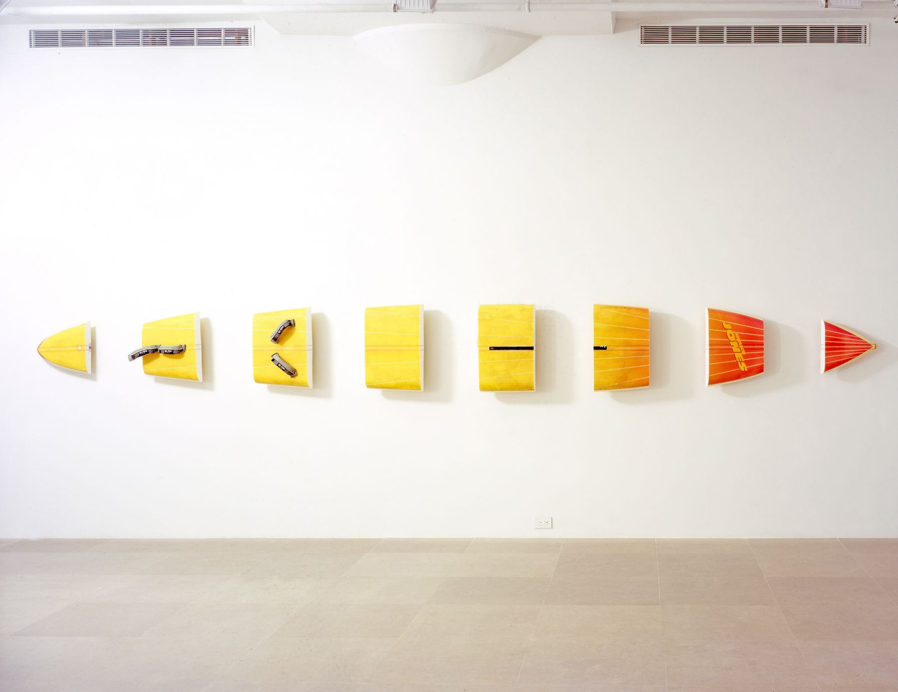 Michael Krebber, Bruce Jones, 2008, Windsurfing board, wall mounts, 23 1/2 x 223 inches