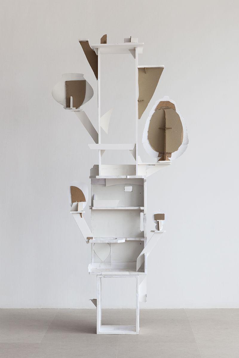 Gedi Sibony, Eight More Petals, 2013, Foam core, cardboard, inkjet print, tape, 97 x 44 x 18 inches