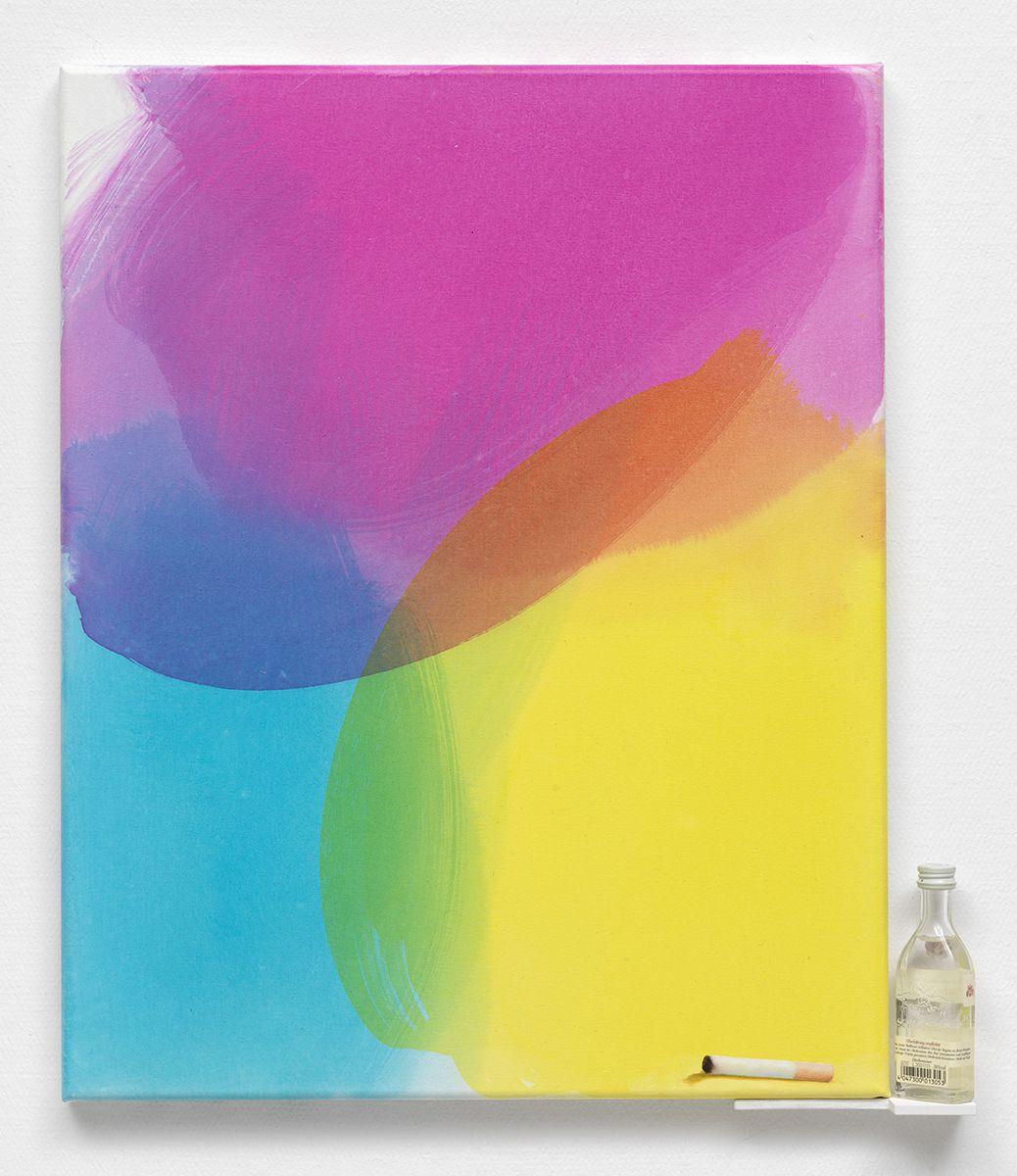 Monika Baer Ohne Titel, 2016 Acrylic on canvas, wood, bottle 15 3/4 x 11 3/4 inches (40 x 30 cm)