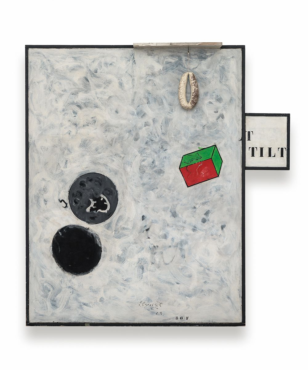 Hervé Télémaque  La boîte à malice (The bag of tricks), 1963  Oil on canvas with a plastic sausage  58.66 x 55.51 x 7.09 inches (149 x 141 x 18 cm)
