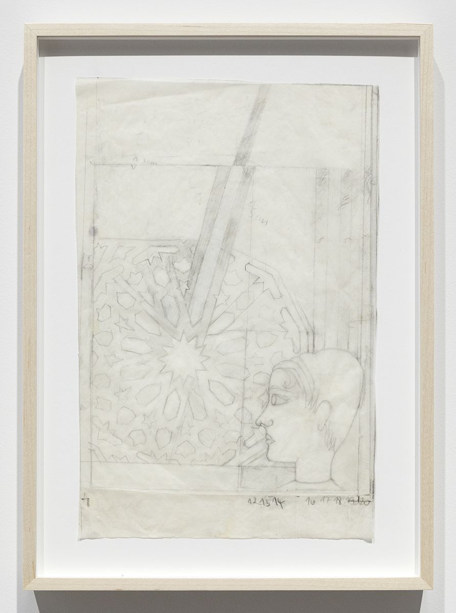 Katharina Wulff Untitled, 2011 Pencil on transparent paper Paper: 12 3/4 x 8 7/8 inches (32.4 x 22.5 cm) Frame: 15 3/5 x 11 1/4 x 1 3/8 inches (39.6 x 28.6 x 3.5 cm)