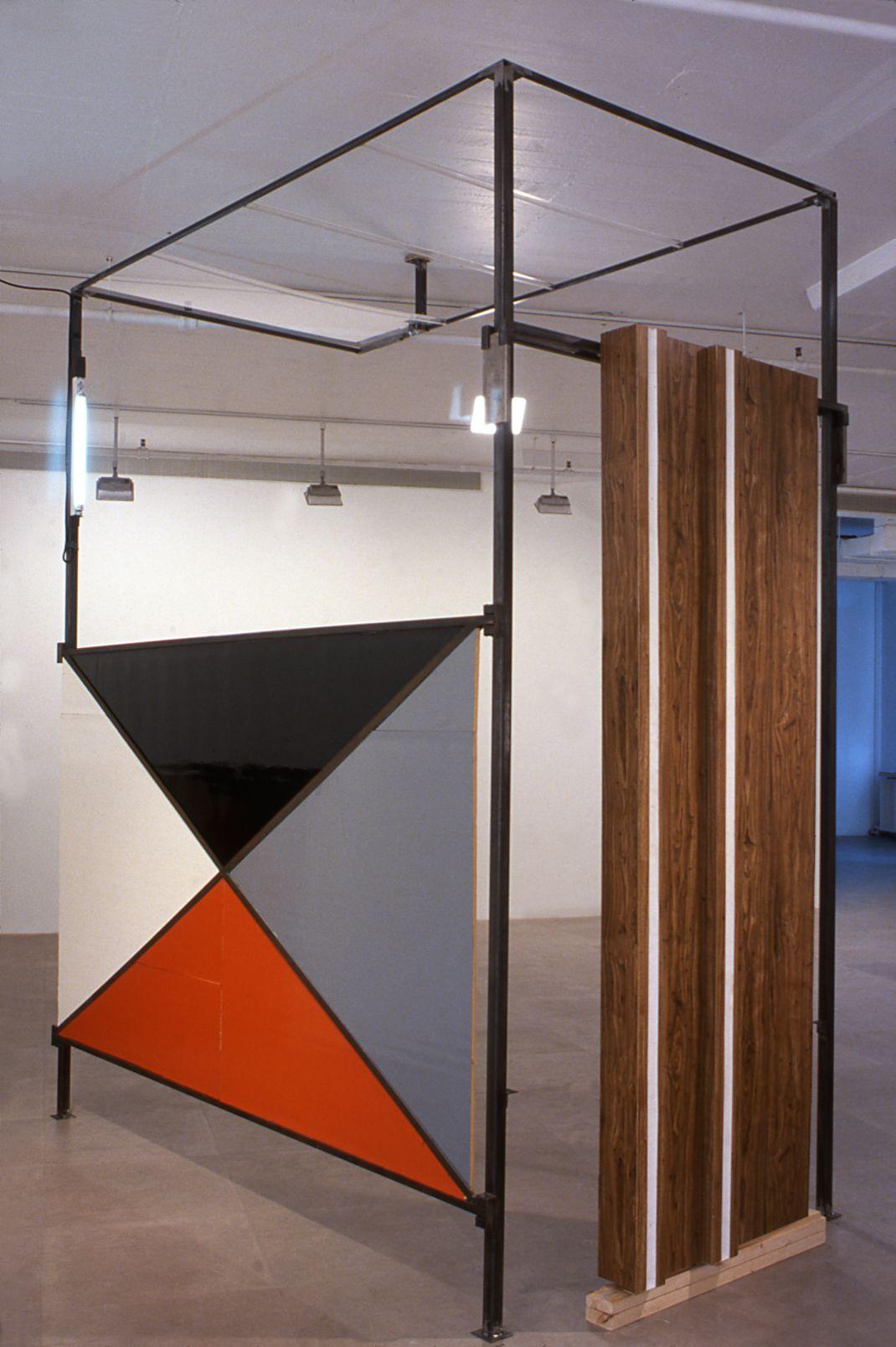 Heidie Gianotti, When Suburban Living Was Good, 2001 (detail), Steel, plexi, insulation, caulking, vinyl, super 8 film, Dimensions variable