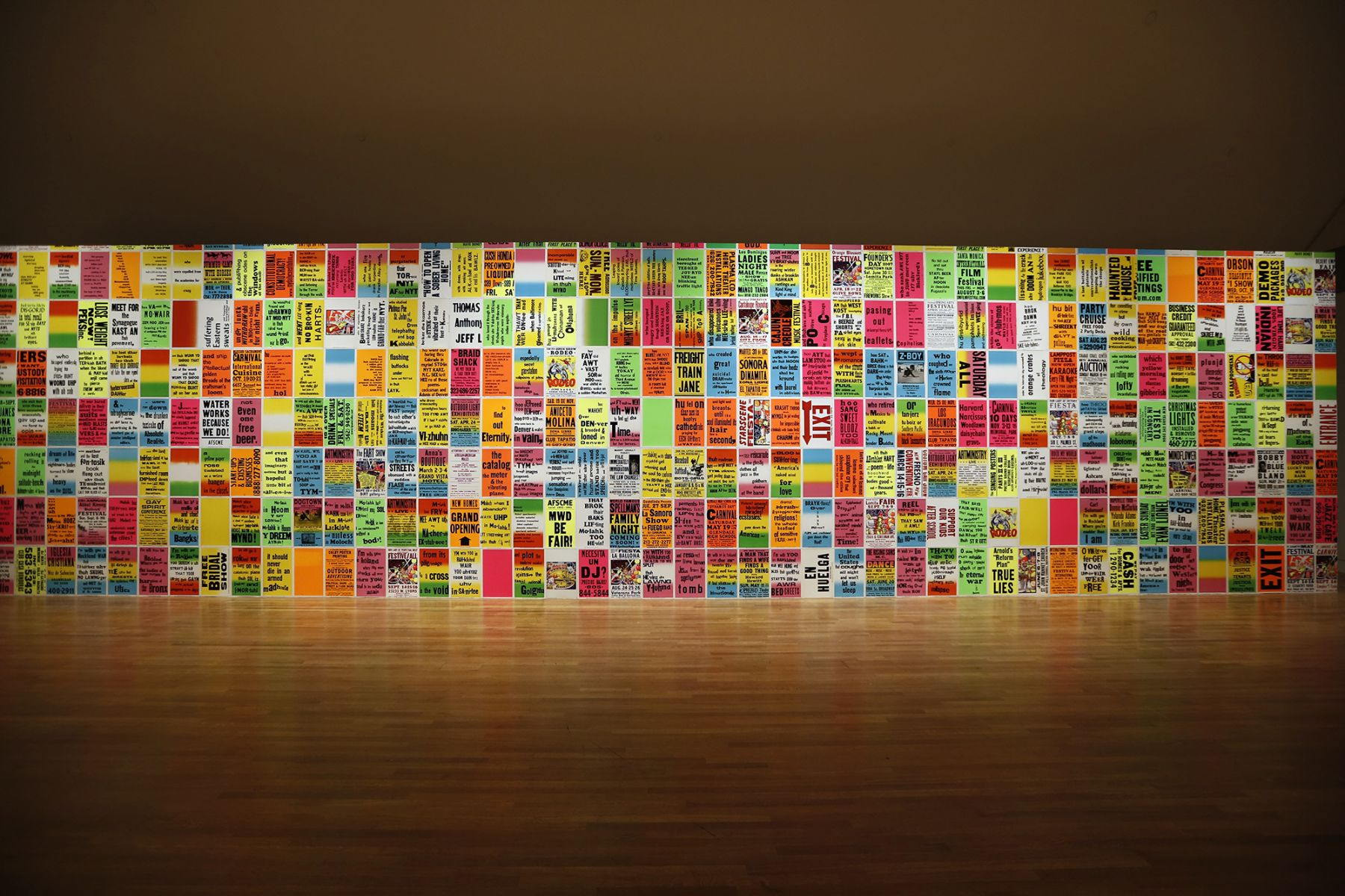 Installation view, The Singing Posters: Poetry Sound Collage Sculpture Book, Skirball Culture Center, Los Angeles, 2015