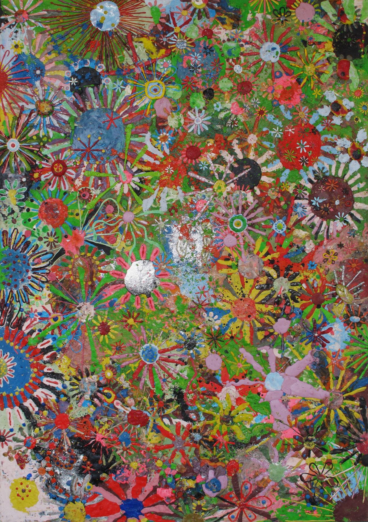 Gelitin Flower painting 2009  plasticine on wood panel 75 x 53 x 3/4 inches