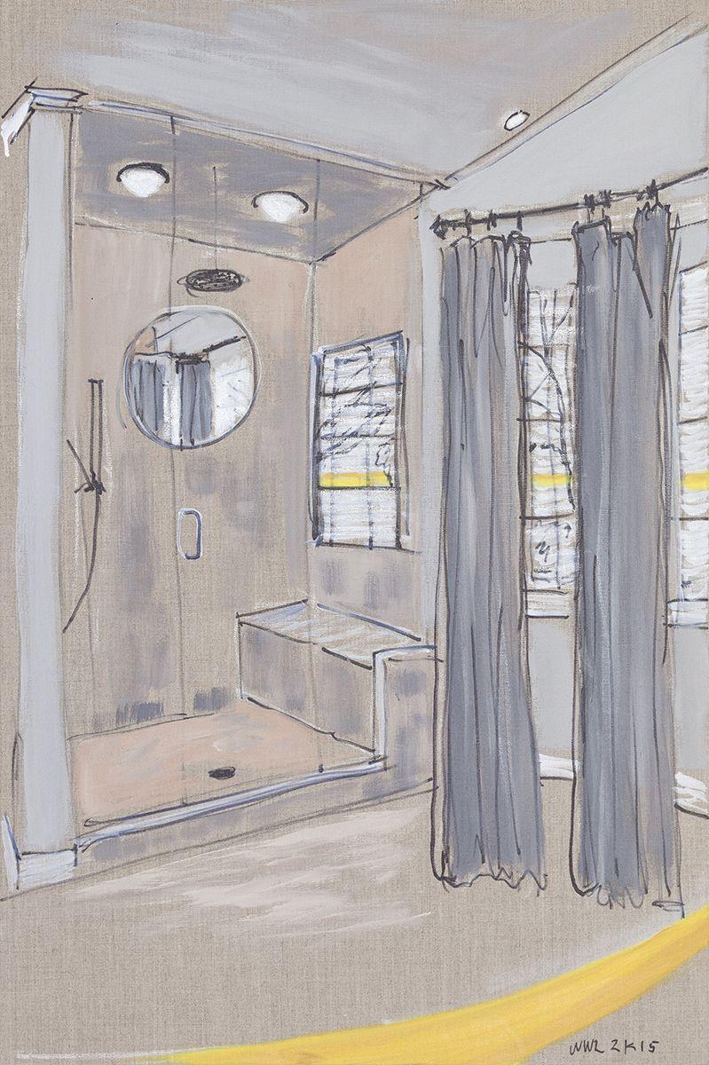 William Leavitt Shower #1, 2015 Oil marker on linen 36 x 24 inches (91.4 x 61 cm)