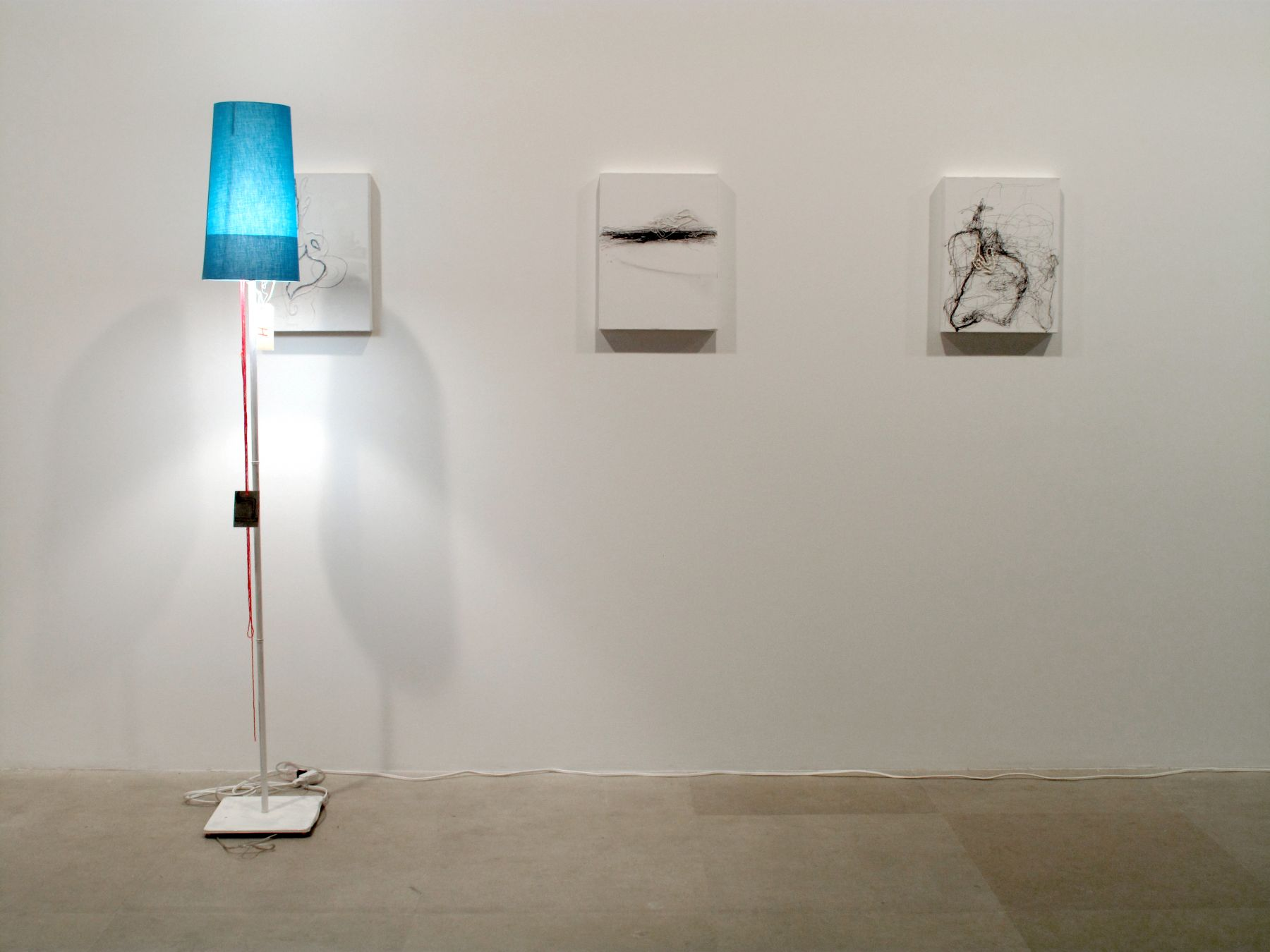 Untitled, 2008, ink, pencil, acrylic, pearls, beads and adhesive on canvas, mixed media lamp, overall dimensions variable, canvases each 15 ¾ x 11 ¾ inches