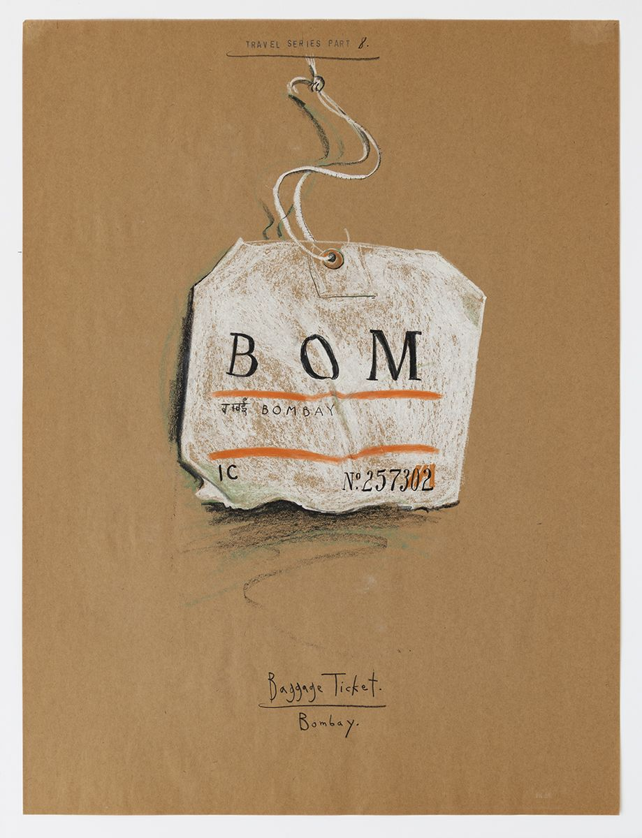 Candy Jernigan, Travel Series – Part 8, Baggage Ticket – Bombay, 1983,  Pastel and rubber stamp on kraft paper,  Image: 24 x 18 inches (61 x 45.7 cm),  Frame: 27 3/4 x 21 3/4 x 1 1/2 inches (70.5 x 55.2 x 3.8 cm)