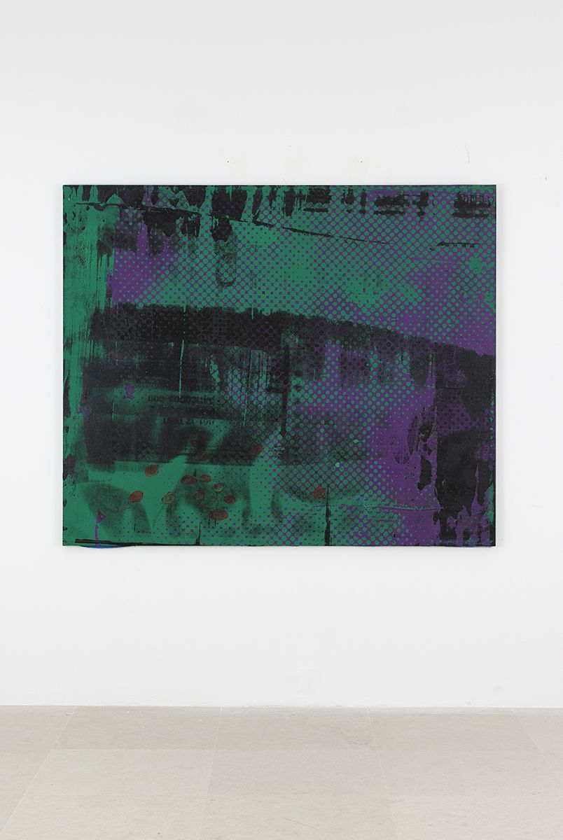 Mathieu Malouf, M76 nuclear warhead, 2017  Acrylic and silkscreen on canvas  60 x 72 inches (152.4 x 182.9 cm)