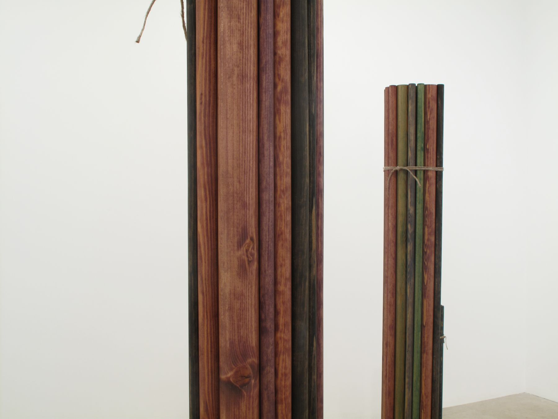 Bündel, 2009 (detail), wood, gouache, oil, twine, six parts, 74 7/8 x 107 x 37 inches (approx. overall)