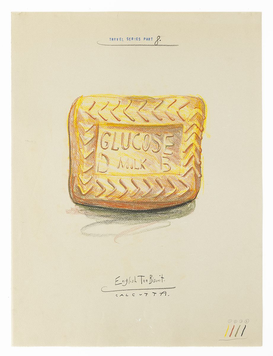 Candy Jernigan, Travel Series – Part 8, English Tea Biscuit – Calcutta, 1984,  Pastel and rubber stamp on paper,  Image: 24 x 18 inches (61 x 45.7 cm),  Frame: 28 1/4 x 22 1/4 x 1 1/2 inches (71.8 x 56.5 x 3.8 cm)