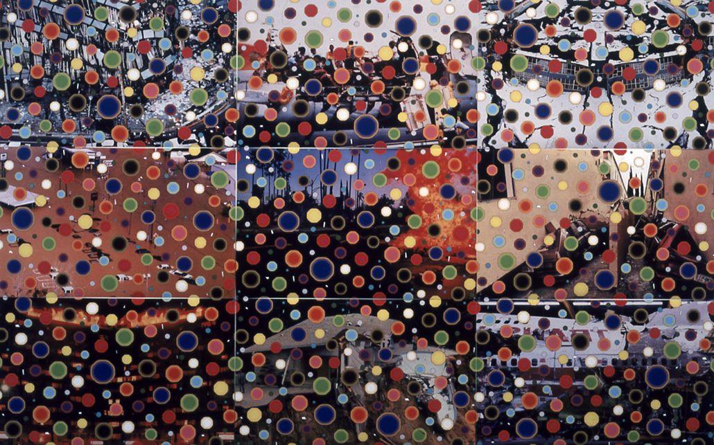 Kelley Walker, Anchorage, Maui, Kobe, San Fernando VAlley, Florida City, Elba, TWA Flight 800, Los Angeles, Moran., 2002, digital print and digital file, 25 x 39 3/4 inches each, edition of 5, entire series of 9, 75 x 120 inches, edition of 3