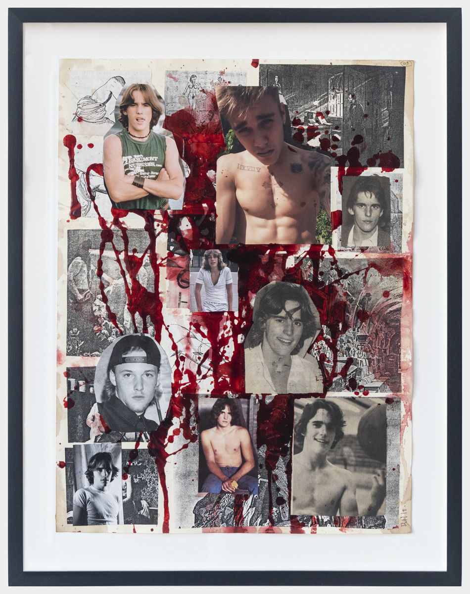 The Collage Killer #3, 2018, Fake blood and collage on paper, 15 3/4 x 11 7/8 inches (40 x 30.2 cm) Frame: 18 1/4 x 14 1/4 inches (46.4 x 36.2 cm)