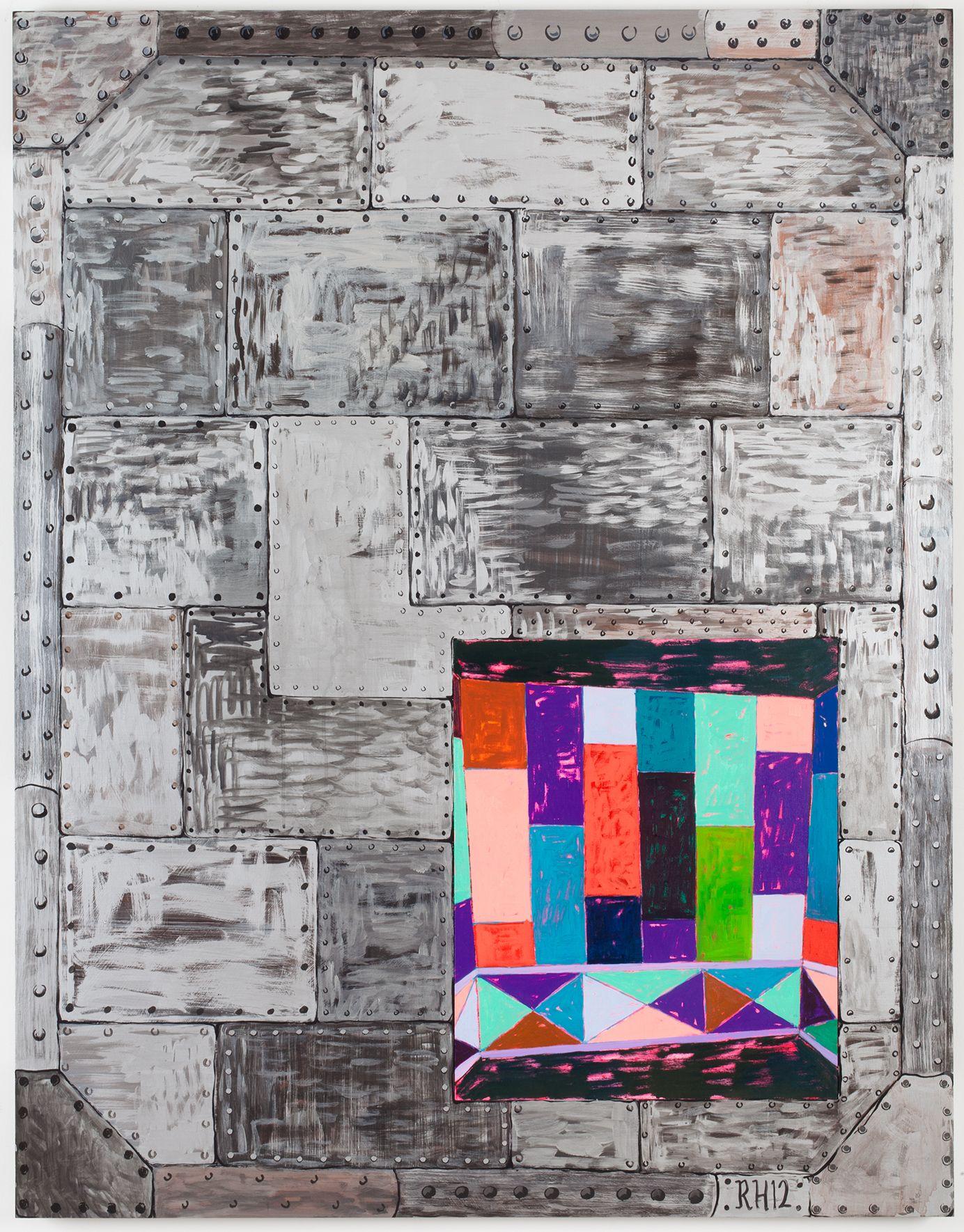 Richard Hawkins Vault #4, 2012 Oil on canvas and acrylic on panel 63 x 49 x 1 5/8 inches 160 x 124.5 x 4.1 cm