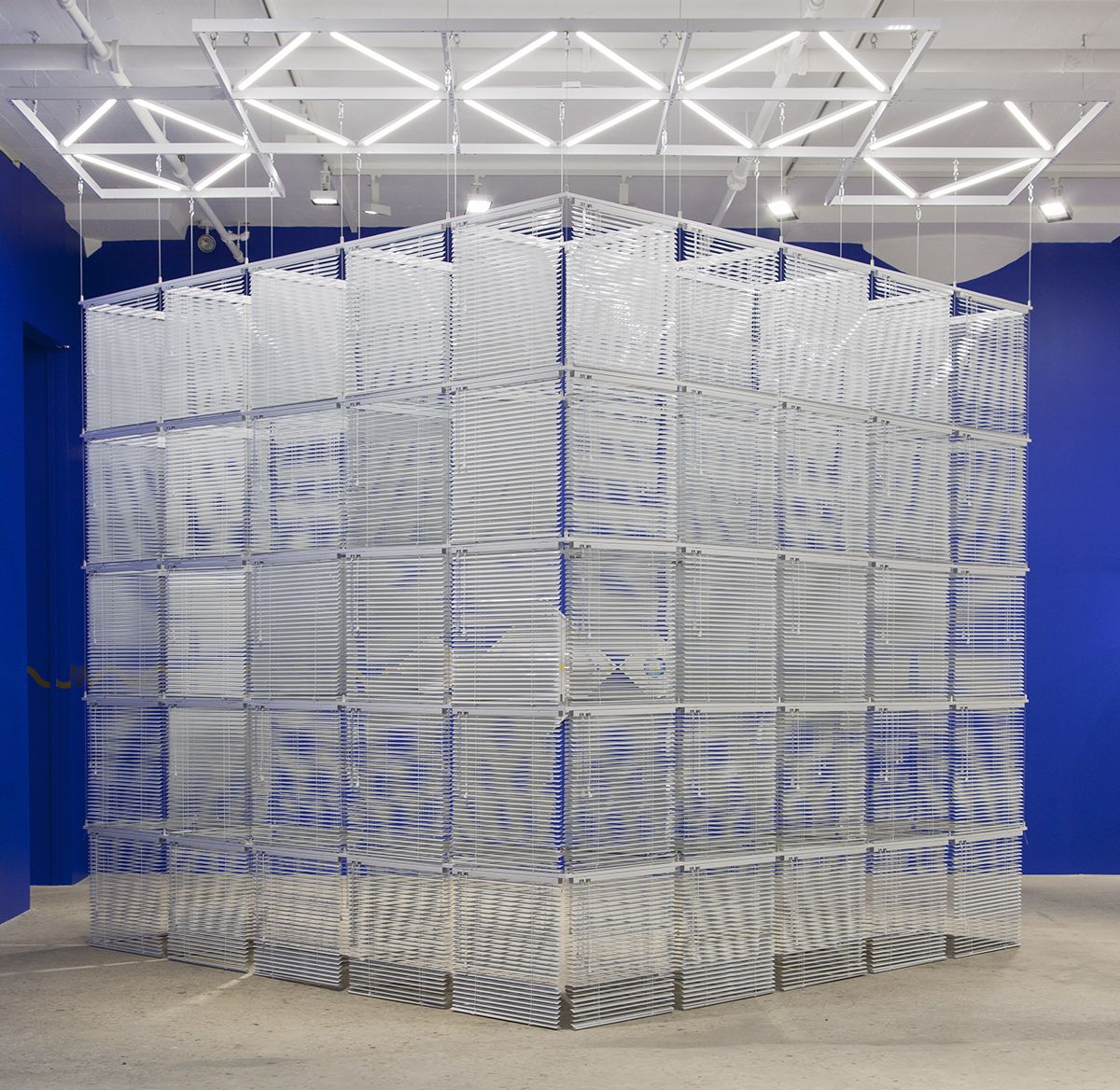 Haegue Yang, Sol LeWitt Upside Down –Cube Structure Based on Five Modules, Expanded 184 Times#74-B, 2016