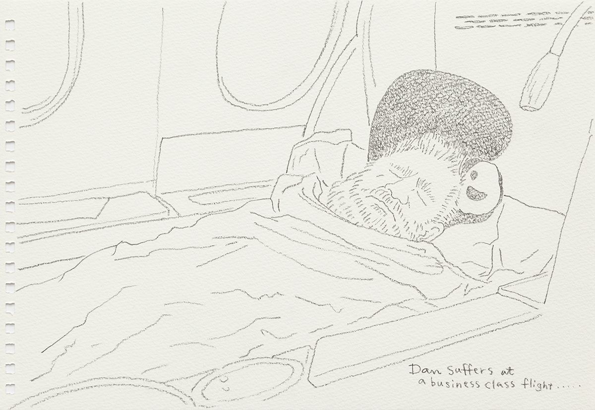 Mieko Meguro Dan Suffers At A Business Class Flight..., 2016 Graphite on paper Image: 6 3/8 x 9 7/8 inches (16.5 x 25.1 cm)  Frame: 9 1/2 x 12 1/2 x 1 1/8 inches (24.1 x 31.7 x 3.0 cm)