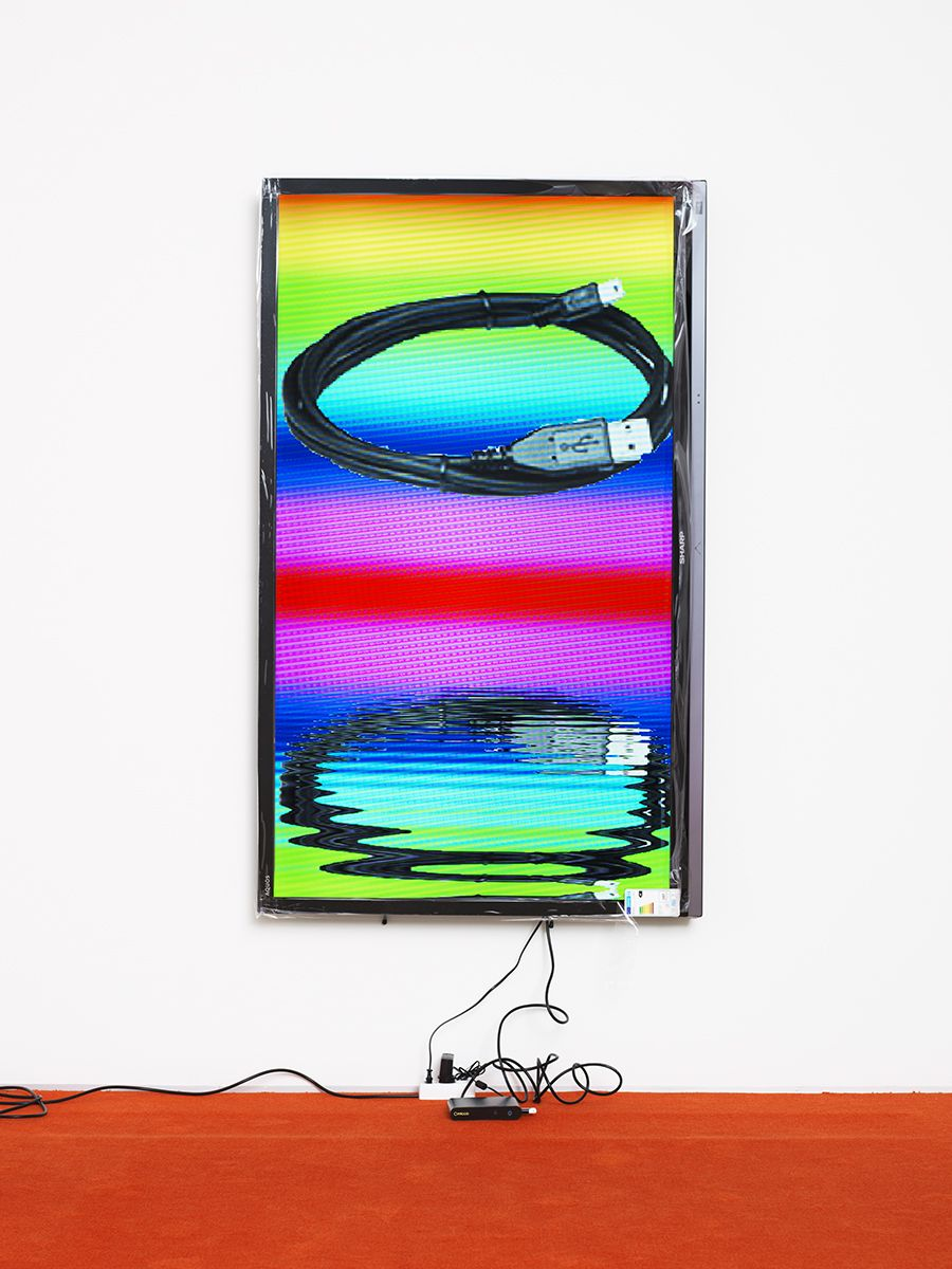 """Cory Arcangel  Blackberry / Lakes, 2013,  Part 10 looped digital file (from lossless Quicktime Animation master), media player, 65–75"""" flatscreen, armature, various cables,  1920x1080 H.264/MPEG-4"""