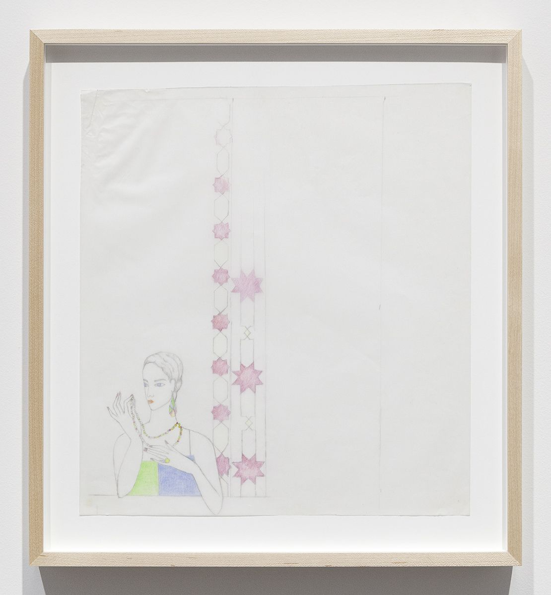 Katharina Wulff Untitled, 2015 Pencil, colored pencil on transparent paper Paper: 12 3/4 x 11 5/8 inches (32.4 x 29.5 cm) Frame: 16 x 14 1/2 x 1 3/8 inches (40.6 x 36.8 x 3.5 cm)