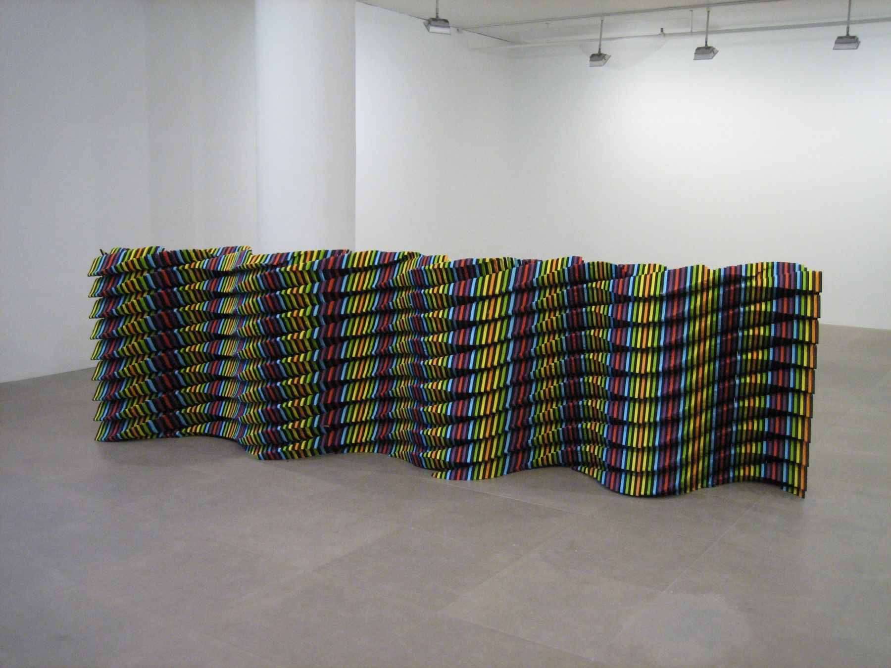 Ara Peterson, Standing Waves, 2004, wood, acrylic, 45 x 168 x 30 inches