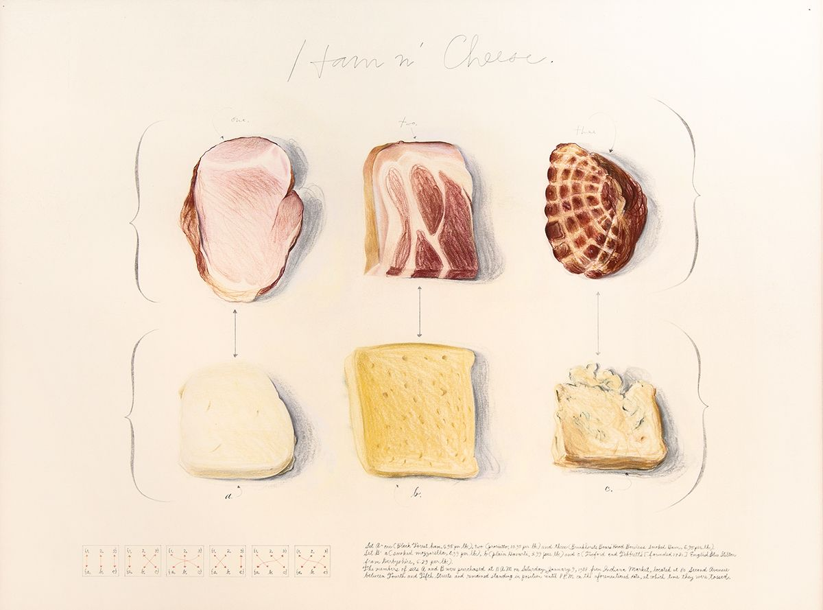 Candy Jernigan, Ham n' Cheese, 1988, Graphite and colored pencil on paper, Paper: 22 x 30 inches (55.9 x 76.2 cm), Frame: 26 1/2 x 33 3/4 x 3/4 inches (67.3 x 85.7 x 1.9 cm)