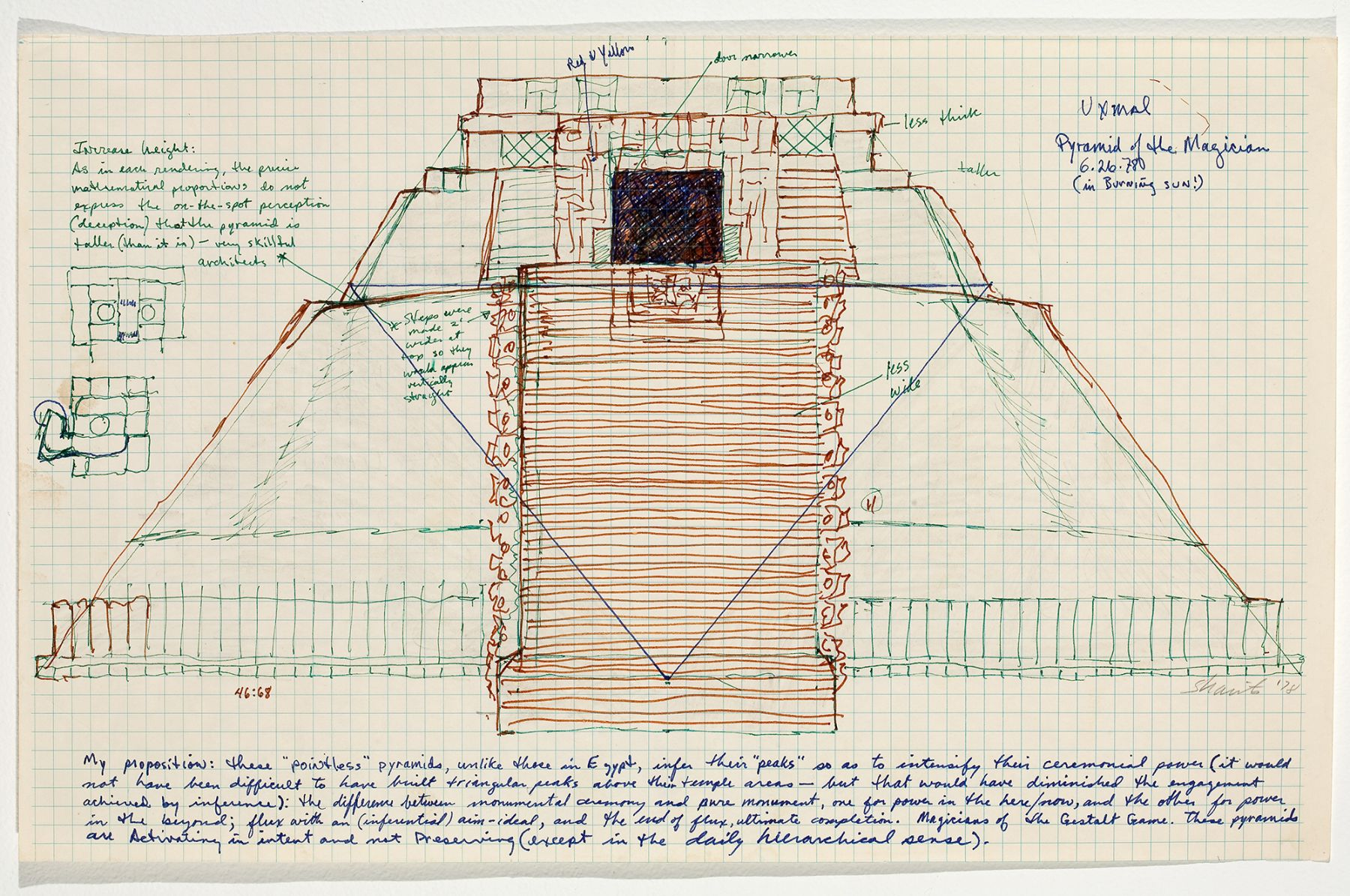 Paul Sharits, Uxmal Pyramid of the Magician, 1978, colored ink on paper, 11 x 17 1/2 inches