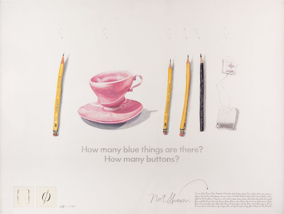 Candy Jernigan, How many blue things?, 1988, Graphite and colored pencil on paper, 26 1/2 x 33 3/4 x 3/4 inches (67.3 x 85.7 x 1.9 cm)