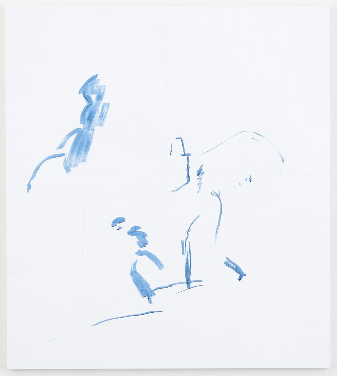 Michael Krebber Herbes de Provence, Gitanes, 2018 Acrylic on canvas 45 x 40 inches (114.3 x 101.6 cm)